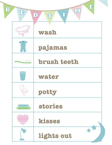 preschool bedtime routine chart free bedtime routine printable from and cards 443