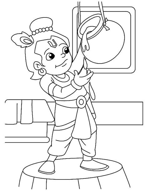 krishna krishna  butter lover coloring pages