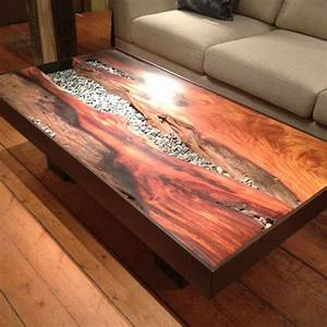 wood and stone together however it happens is always With river rock coffee table