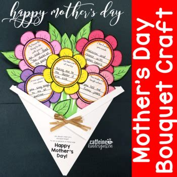 mothers day craft flower bouquet card writing activity tpt
