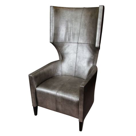 modern leather wing chair by stanley friedman for brueton