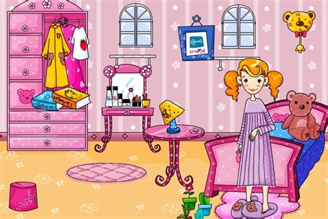 pink bedroom   game play  decorating games