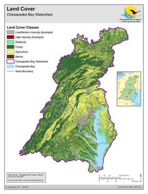 Chesapeake Bay Gis Data by Map Land Cover Chesapeake Bay Watershed Chesapeake Bay