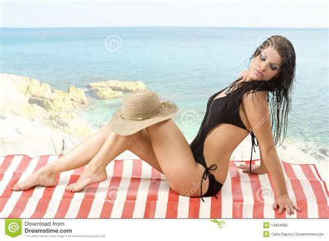 Laying Down On Beach Stock Image Image Of Attractive