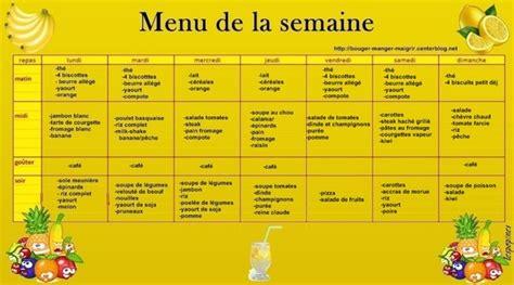 menu semaine cuisine az modele repas equilibré pour semaine cuisinez pour maigrir