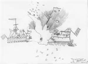 USS Maine Explosion Drawing