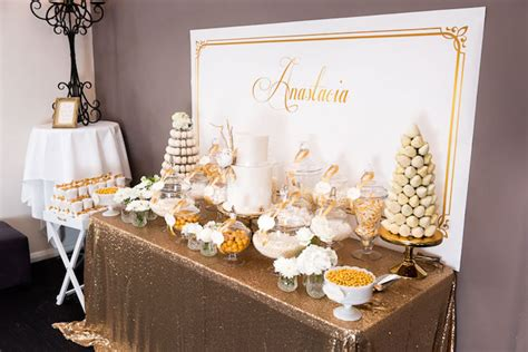 karas party ideas elegant gold white baptism party