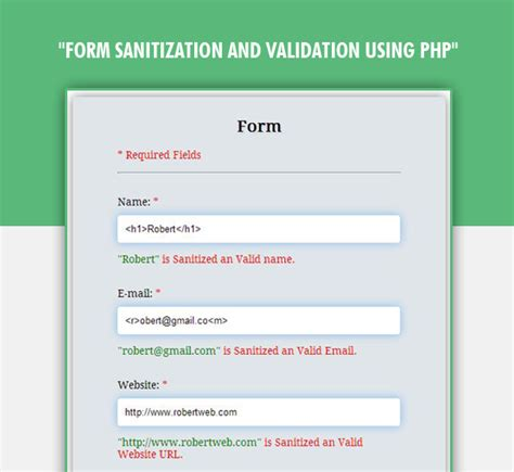 php sanitization and validation of form input fields formget