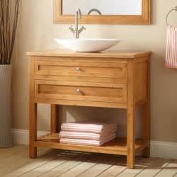 bathroom teak bathroom vanity cabinet with round sink on