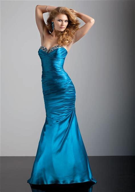 trumpetmermaid sweetheart floor length blue silk prom