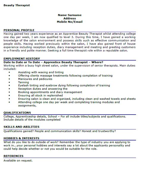 Beautician Cv Exle Doc by Cv Personal Profile Therapist Essay Contests For Eighth Graders Consultspark