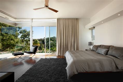 Ceiling Mounted Curtains Bedroom Modern With Wood Floor