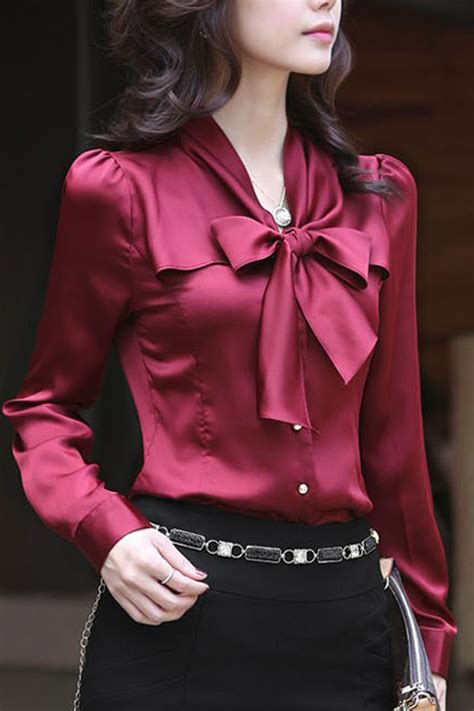 dark red bow decor imitated silk shirt  womens shirts