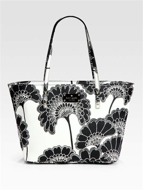 kate spade harmony floral vinyl tote bag  white black lyst