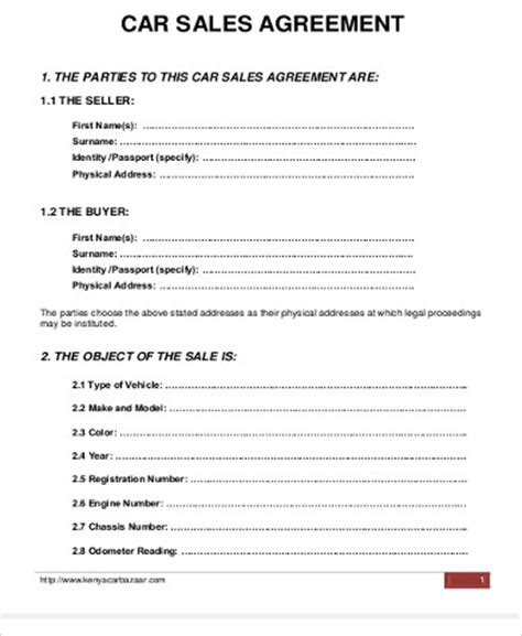 sample car purchase agreement templates