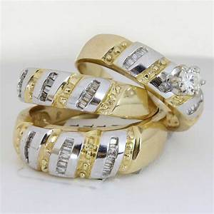 125ct tcw 18k two tone gold trio ring set 9005411 shop for 18k gold wedding ring set
