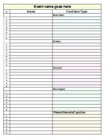 Potluck Sign Up Sheet Template