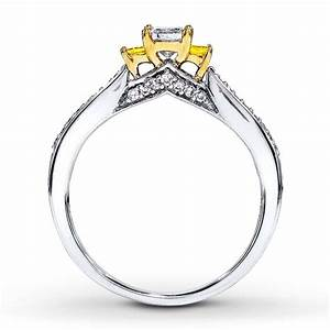 1 carat trilogy princess white and yellow diamond With white and yellow gold wedding ring