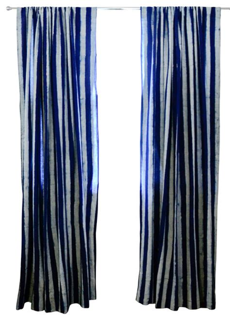 Striped Curtain Panels 96 by Indigo Stripe Window Curtain 96 Quot Modern Curtains By