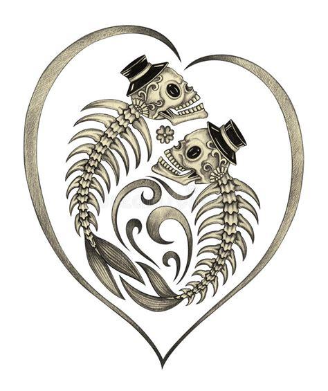 Art Skull Fish Bone Surreal Day The Dead Stock