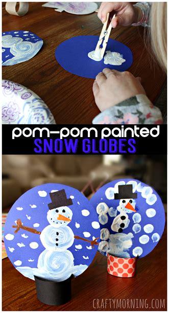 january craft ideas pom pom painted cardboard snow globe craft for 2242