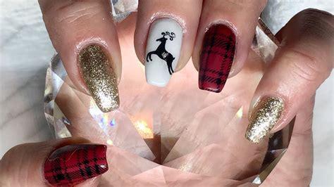 plaid christmas nails   canni gel paintamore
