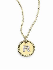 david yurman 18k gold initial pendant necklacer in gold lyst With david yurman letter pendant