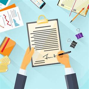 Business Man Signature Document Signing Up Stock Vector ...