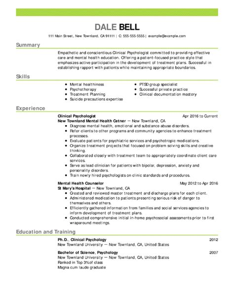 Psychology Resume Template by 90 Premade Resumes Resume Format Pelosleclairecom