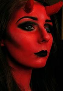 Female Devil Makeup with Horns and Red Body Makeup ...