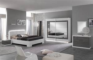 lit adulte design laque blanc gris hanove lit adulte With chambre adulte design blanc