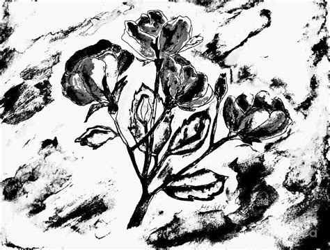 Abstract Painting Black And White by Black And White Abstract Roses Painting By Marsha Heiken