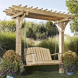 Easy Swinging Arbor with Swing Woodworking Plan from WOOD