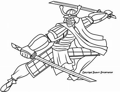 Samurai Coloring Drawing Colorear Dibujos Guerreros Easy