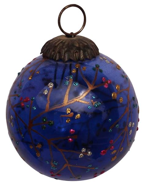decorative christmas ornaments ornament cobalt glitter tree decoration cobalt blue glazed glass with