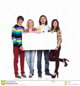 Happy Group Of Students Holding Empty Banner Stock Photo ...