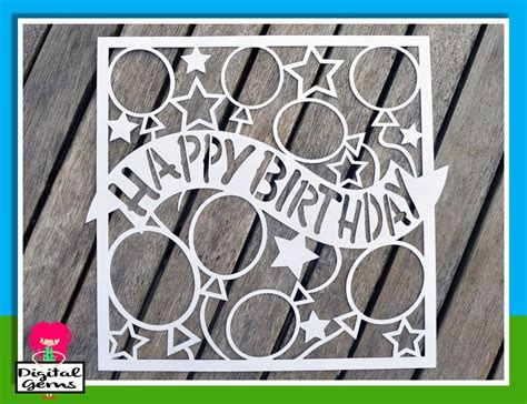 happy birthday paper cut svg dxf eps files