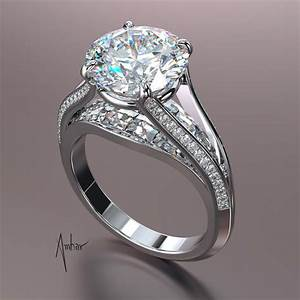 Blaze And Pave Split Shank Engagement Ring Setting Round