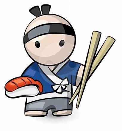 Sushi Clip Japanese Clipart Chef Chopsticks Cliparts
