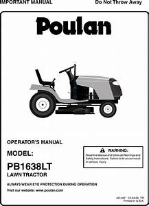 Poulan Pb1638lt 2005 10s 96012004401 Owners Manual Om