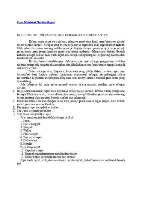Contoh Bentuk Notulen Rapat by Doc Cara Membuat Notulen Rapat Menulis Notulen Rapat