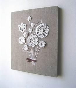 Burlap canvas and sew on grandma davis doilies idees