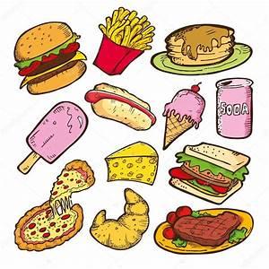 Conjunto de la doodle de comida chatarra — Vector de stock ...