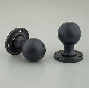 hand forged round wrought iron black waxed door knobs With circular door pulls