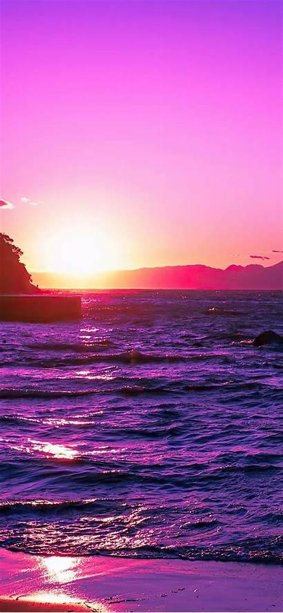 Iphone 4k Sunset Purple Evening Pro Wallpapers
