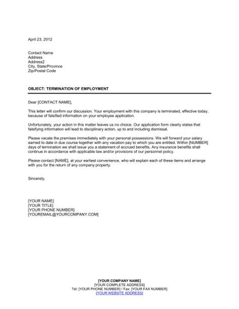 notice  termination false employee information