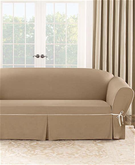 macys sofa covers sure fit cotton canvas one t cushion sofa slipcover