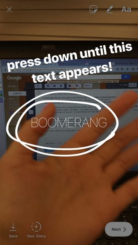turn  iphone  mode picture   instagram boomerang