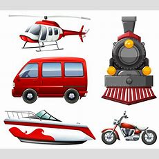 Different Types Of Transportation In Red  Download Free Vector Art, Stock Graphics & Images