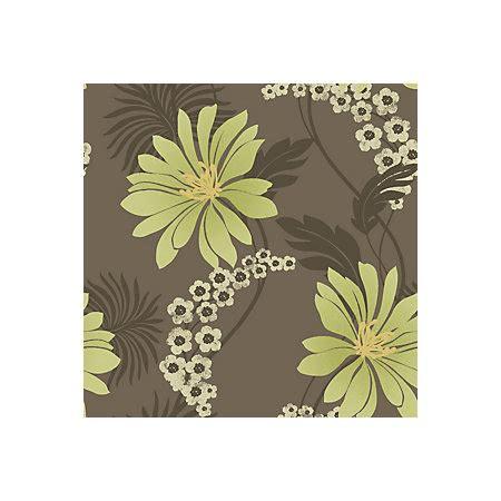 Tahiti Brown & Green Floral Wallpaper Departments